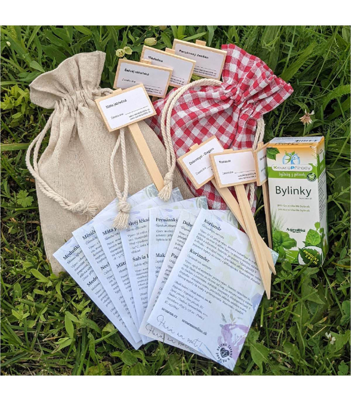 Dárkové balení semen bylinek - dárkový sáček s visačkou zdarma